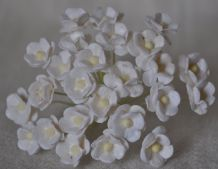 1.3cm WHITE DOUBLE-LAYERED Daisy Mulberry Paper Flowers